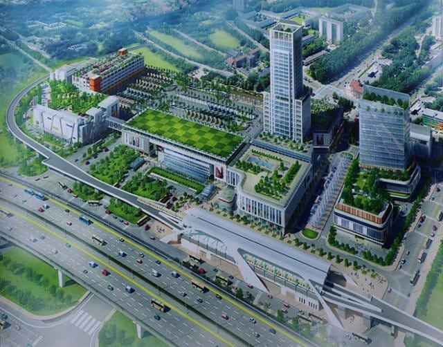 Phối cảnh bến xe Miền Đông mới. Bến xe này là một quần thể phức hợp bao gồm khu vực bến xe chính kết hợp nhiều dịch vụ tiện ích với tổng diện tích 122.480 mét vuông.