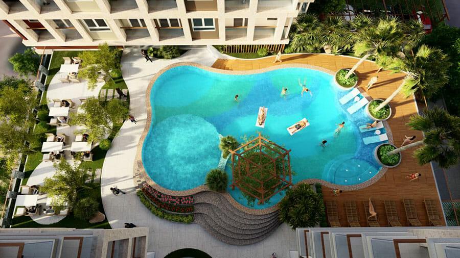 The EastGate tích hợp đầy đủ các tiện ích hiện đại. Trong ảnh là phối cảnh hồ bơi nằm ở tầng 2 của dự án