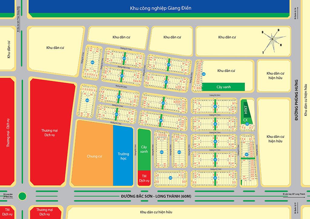 Sơ đồ phân lô dự án Golden Center City 3 Tam Phước Biên Hòa