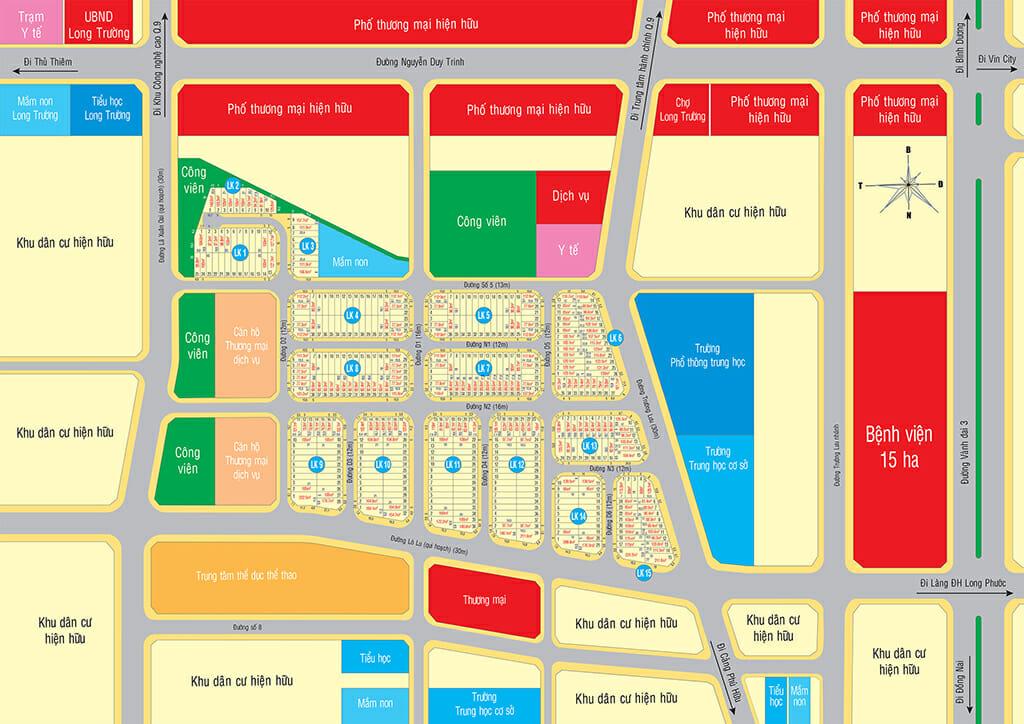 Sơ đồ phân lô dự án Singa City Quận 9