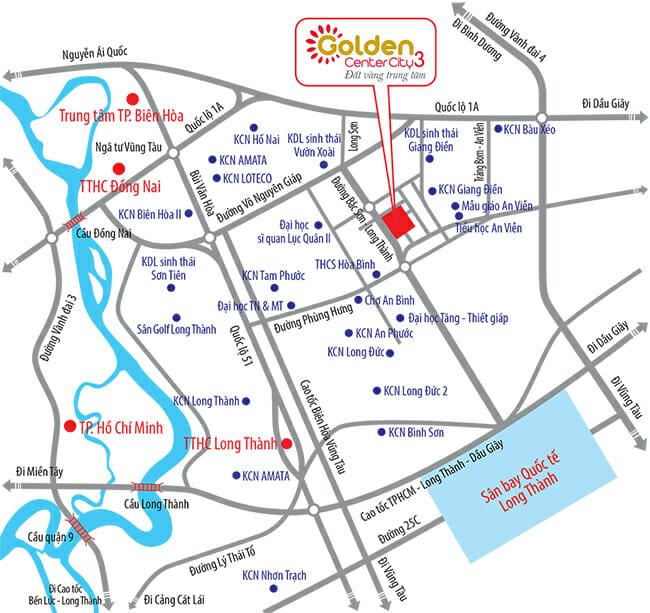 Sơ đồ vị trí dự án Golden Center City 3