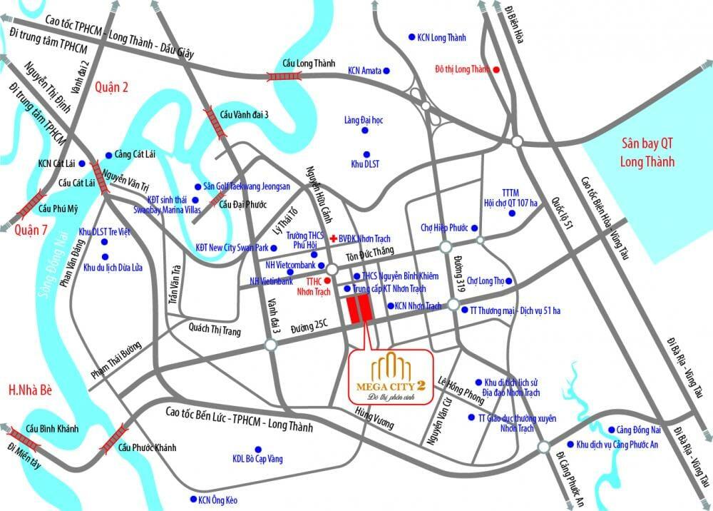 Sơ đồ vị trí dự án Mega City 2