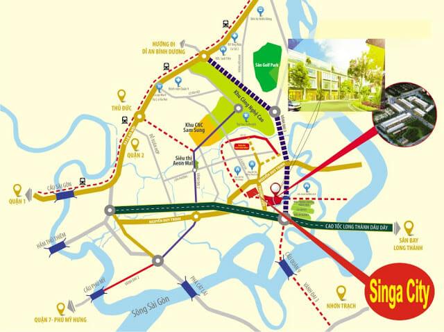 Vị trí dự án Singa City quận 9