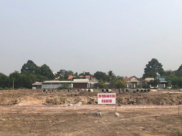 Hạ tầng khu đô thị thương mại Cát Linh đang được thi công