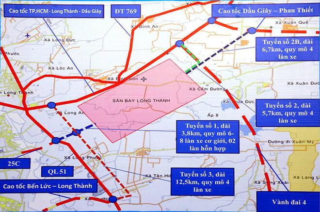 Những trục đường chính vào sân bay Long Thành đang được bàn bạc để trình Chính phủ Gia Khánh