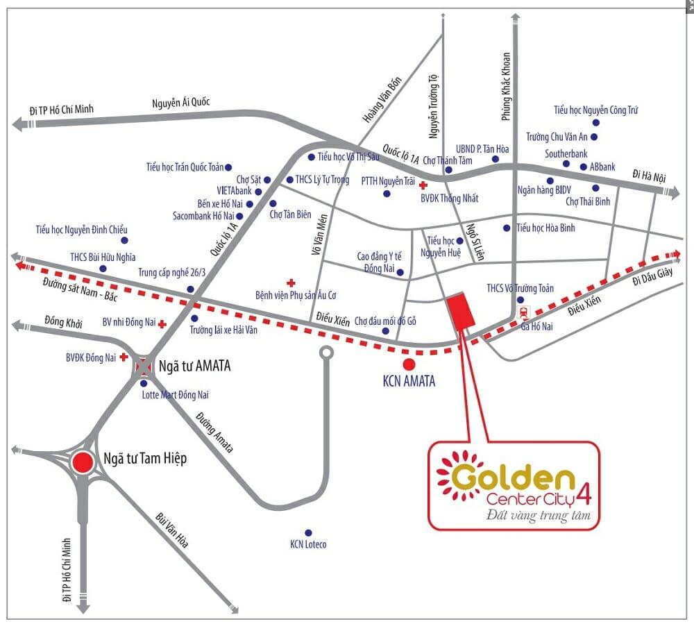Vị trí dự án Golden Center City 4 bao quanh là dân cư đông đúc hiện hữu
